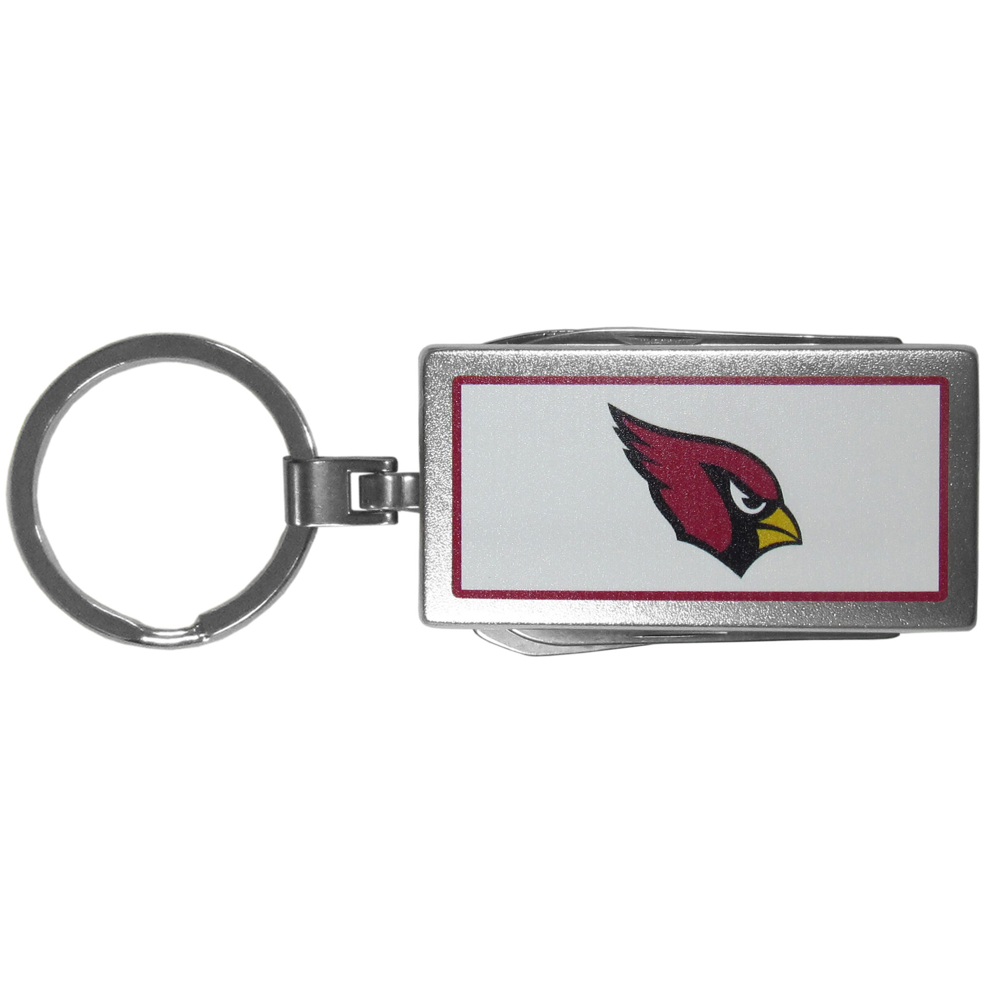 Arizona Cardinals Multi-tool Key Chain, Logo - Be the hero at the tailgate, camping, or on a Friday night with your Arizona Cardinals Multi-Tool Keychain which comes complete with bottle opener, scissors, knife, nail file and screw driver. Be it opening a package or a beverage Siskiyou's Multi-Tool Keychain goes wherever your keys do. The keychain hangs at 4 inches long when closed.