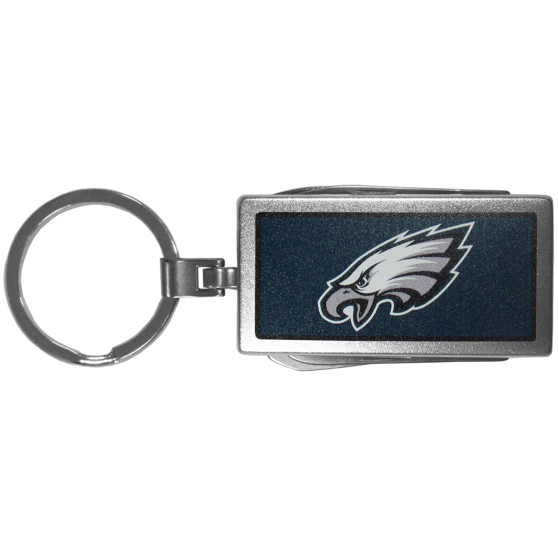 Philadelphia Eagles Multi-tool Key Chain, Logo - Be the hero at the tailgate, camping, or on a Friday night with your Philadelphia Eagles Multi-Tool Keychain which comes complete with bottle opener, scissors, knife, nail file and screw driver. Be it opening a package or a beverage Siskiyou's Multi-Tool Keychain goes wherever your keys do. The keychain hangs at 4 inches long when closed.