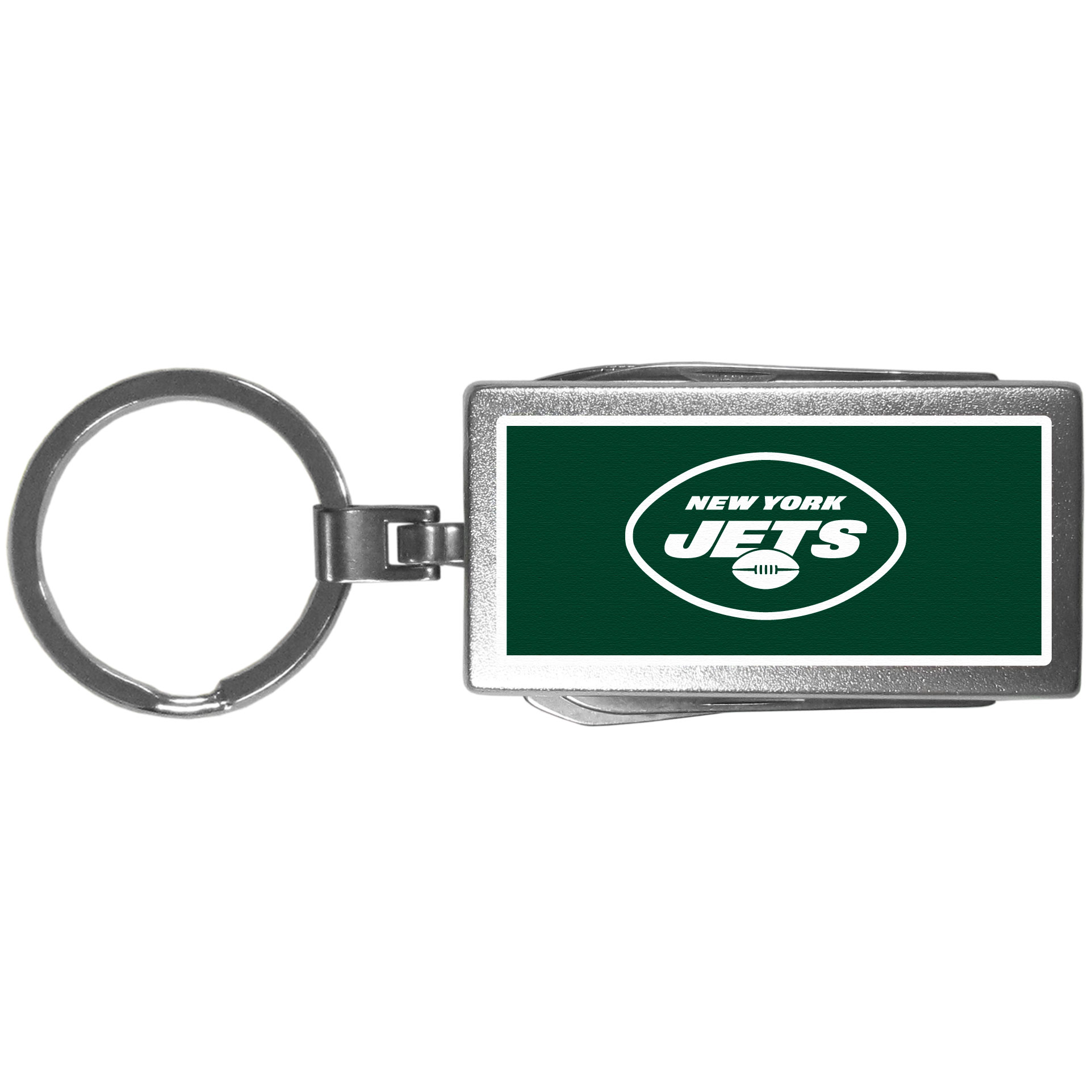 New York Jets Multi-tool Key Chain, Logo - Be the hero at the tailgate, camping, or on a Friday night with your New York Jets Multi-Tool Keychain which comes complete with bottle opener, scissors, knife, nail file and screw driver. Be it opening a package or a beverage Siskiyou's Multi-Tool Keychain goes wherever your keys do. The keychain hangs at 4 inches long when closed.