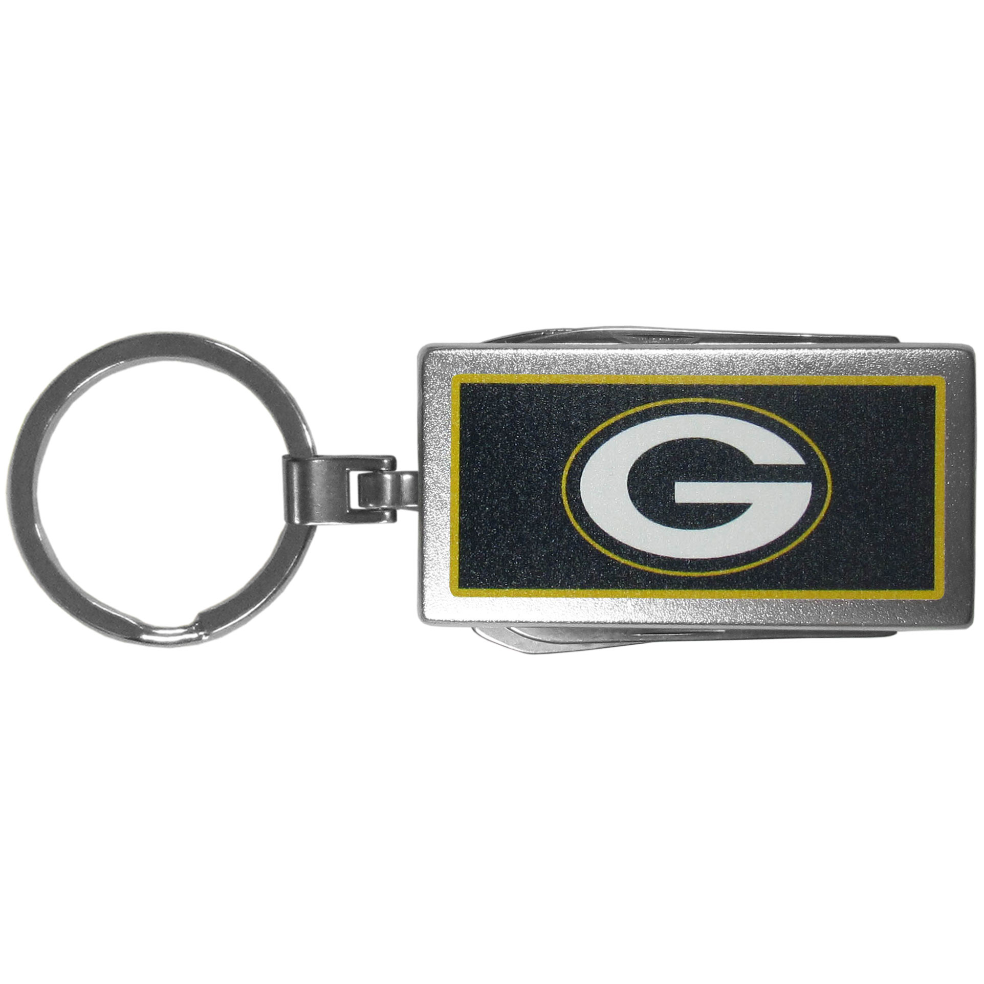 Green Bay Packers Multi-tool Key Chain, Logo - Be the hero at the tailgate, camping, or on a Friday night with your Green Bay Packers Multi-Tool Keychain which comes complete with bottle opener, scissors, knife, nail file and screw driver. Be it opening a package or a beverage Siskiyou's Multi-Tool Keychain goes wherever your keys do. The keychain hangs at 4 inches long when closed.