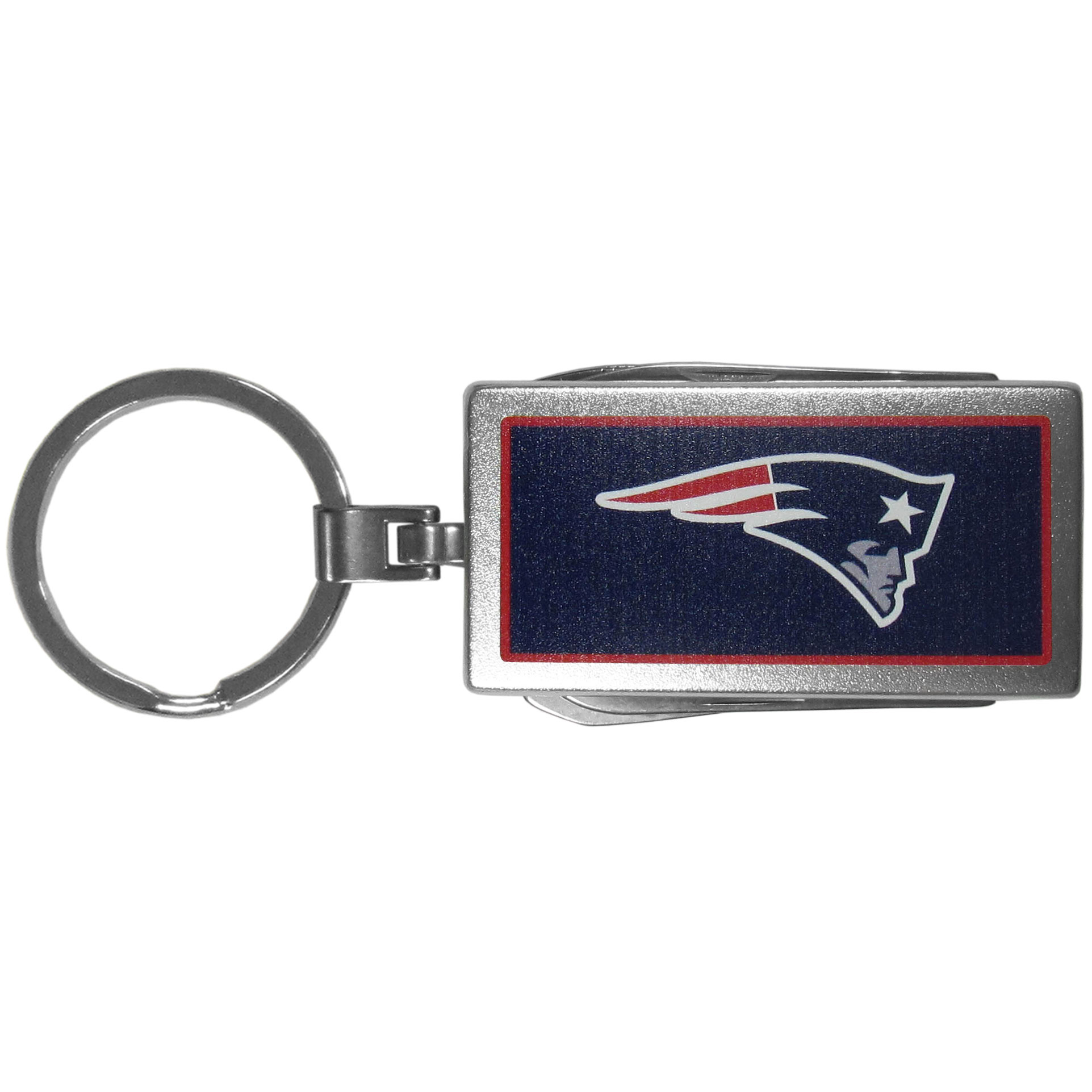 New England Patriots Multi-tool Key Chain, Logo - Be the hero at the tailgate, camping, or on a Friday night with your New England Patriots Multi-Tool Keychain which comes complete with bottle opener, scissors, knife, nail file and screw driver. Be it opening a package or a beverage Siskiyou's Multi-Tool Keychain goes wherever your keys do. The keychain hangs at 4 inches long when closed.