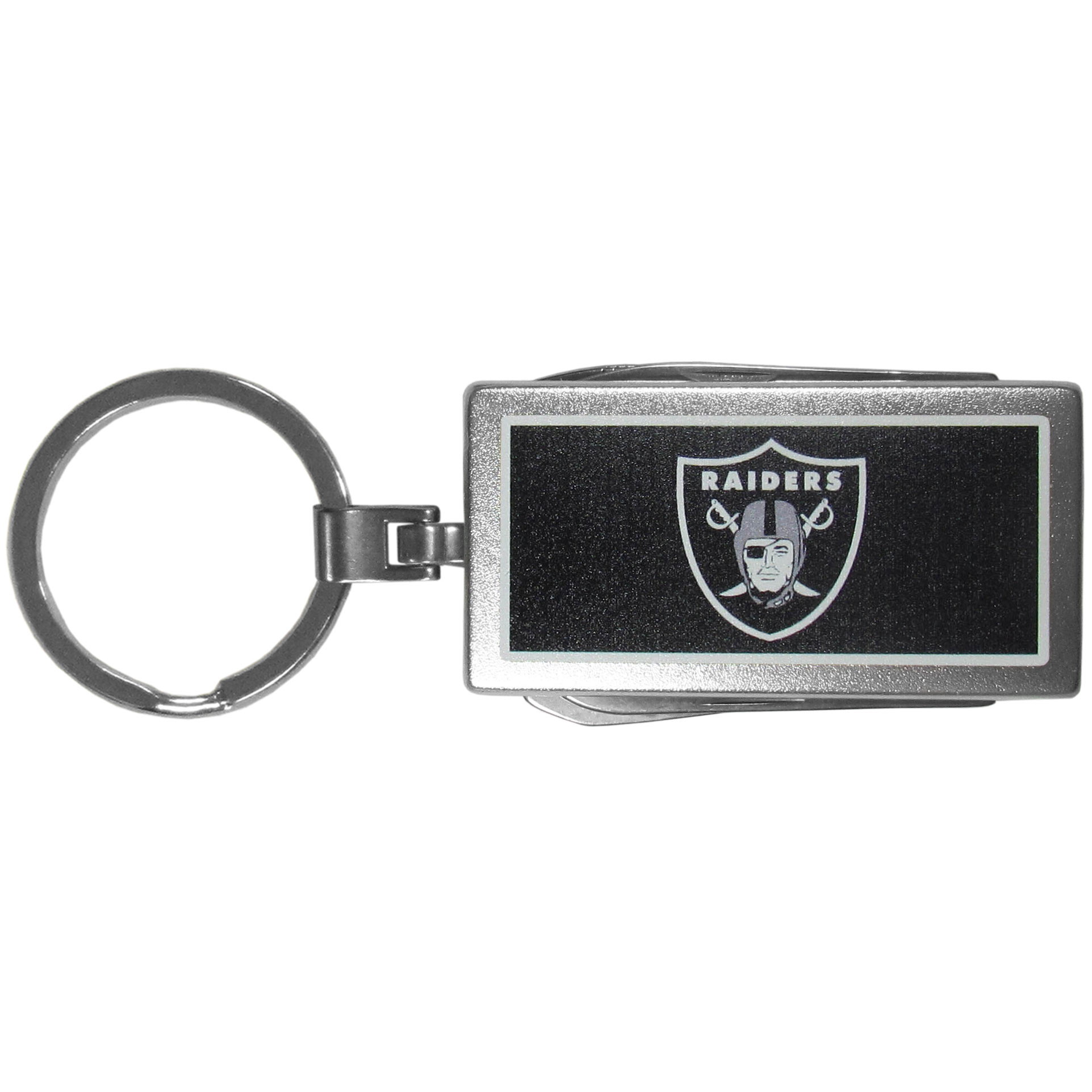 Oakland Raiders Multi-tool Key Chain, Logo - Be the hero at the tailgate, camping, or on a Friday night with your Oakland Raiders Multi-Tool Keychain which comes complete with bottle opener, scissors, knife, nail file and screw driver. Be it opening a package or a beverage Siskiyou's Multi-Tool Keychain goes wherever your keys do. The keychain hangs at 4 inches long when closed.