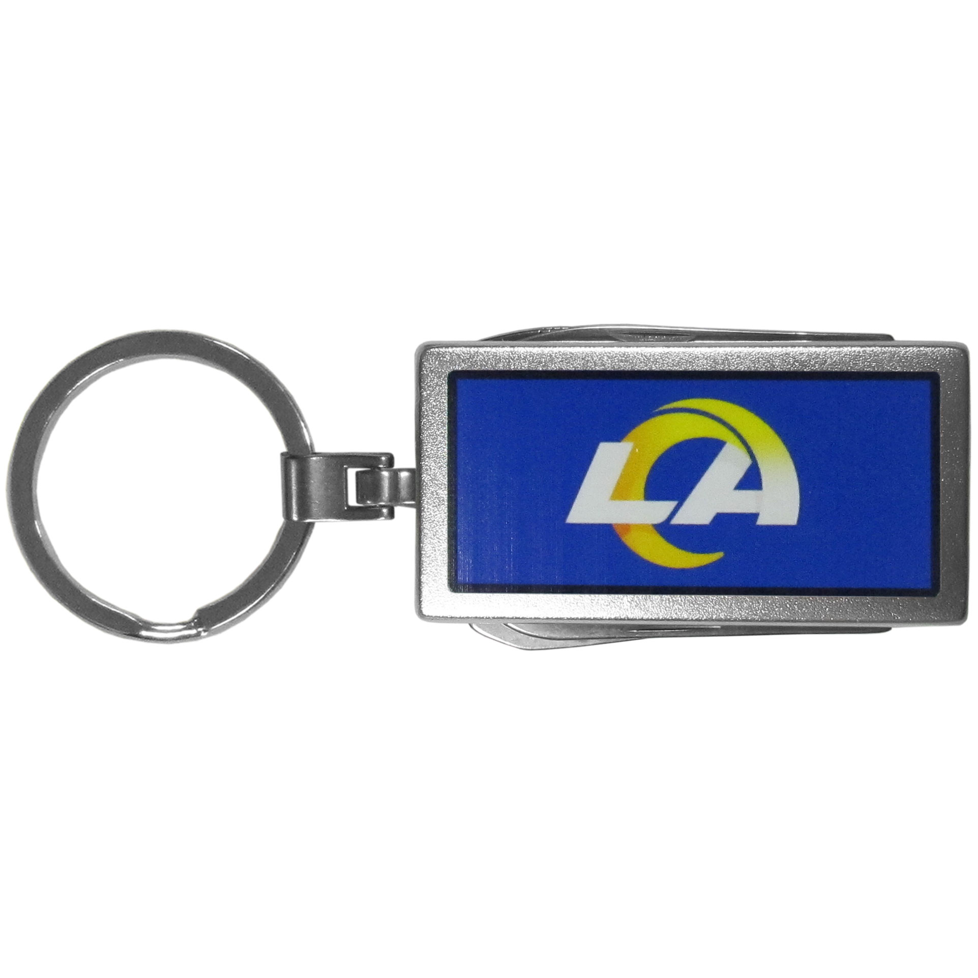 Los Angeles Rams Multi-tool Key Chain, Logo - Be the hero at the tailgate, camping, or on a Friday night with your Los Angeles Rams Multi-Tool Keychain which comes complete with bottle opener, scissors, knife, nail file and screw driver. Be it opening a package or a beverage Siskiyou's Multi-Tool Keychain goes wherever your keys do. The keychain hangs at 4 inches long when closed.