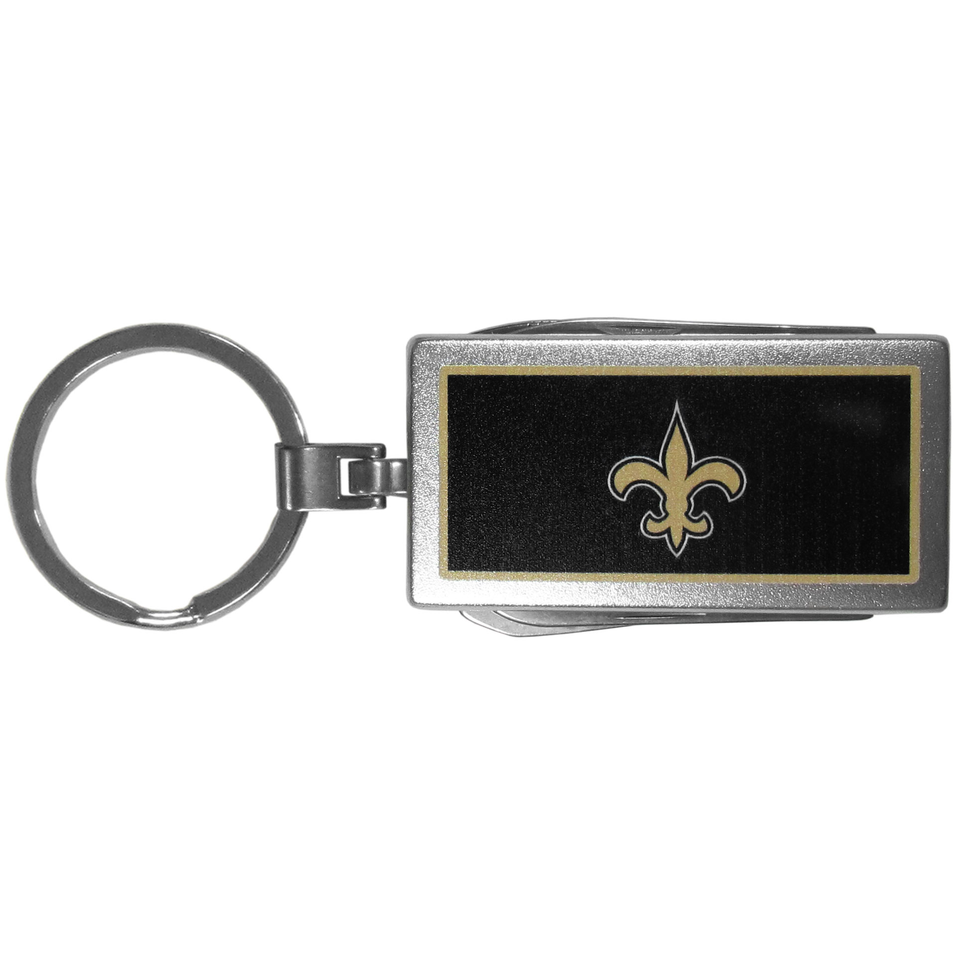 New Orleans Saints Multi-tool Key Chain, Logo - Be the hero at the tailgate, camping, or on a Friday night with your New Orleans Saints Multi-Tool Keychain which comes complete with bottle opener, scissors, knife, nail file and screw driver. Be it opening a package or a beverage Siskiyou's Multi-Tool Keychain goes wherever your keys do. The keychain hangs at 4 inches long when closed.