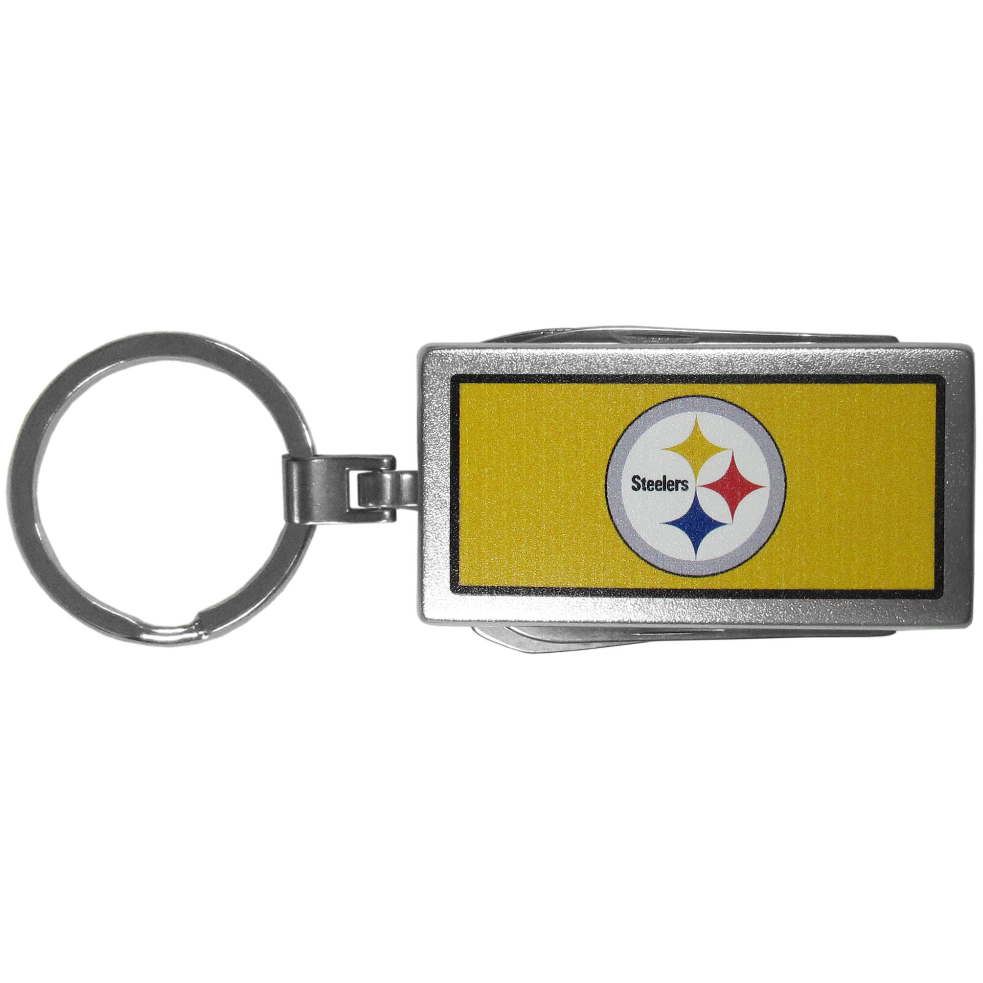 Pittsburgh Steelers Multi-tool Key Chain, Logo - Be the hero at the tailgate, camping, or on a Friday night with your Pittsburgh Steelers Multi-Tool Keychain which comes complete with bottle opener, scissors, knife, nail file and screw driver. Be it opening a package or a beverage Siskiyou's Multi-Tool Keychain goes wherever your keys do. The keychain hangs at 4 inches long when closed.
