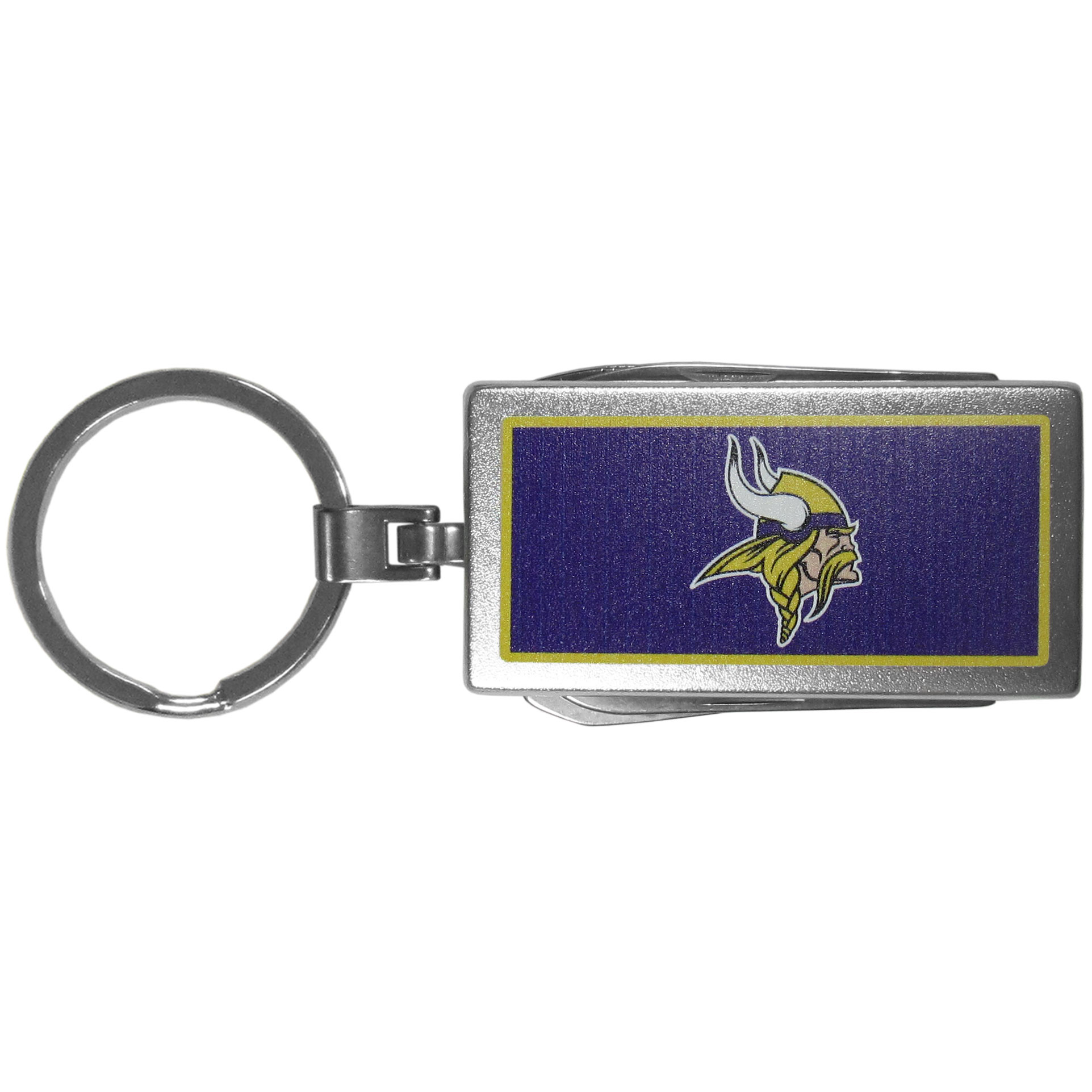 Minnesota Vikings Multi-tool Key Chain, Logo - Be the hero at the tailgate, camping, or on a Friday night with your Minnesota Vikings Multi-Tool Keychain which comes complete with bottle opener, scissors, knife, nail file and screw driver. Be it opening a package or a beverage Siskiyou's Multi-Tool Keychain goes wherever your keys do. The keychain hangs at 4 inches long when closed.