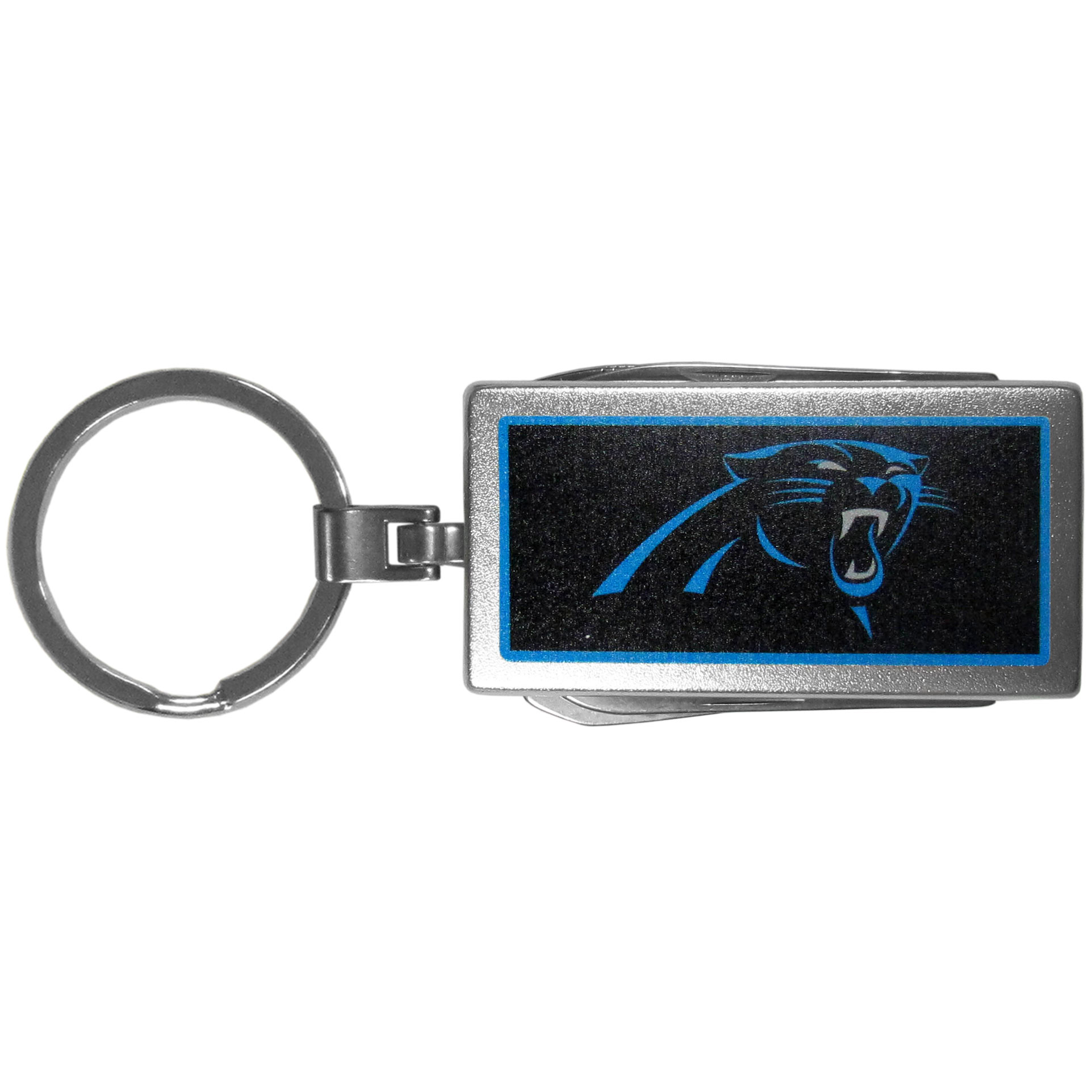 Carolina Panthers Multi-tool Key Chain, Logo - Be the hero at the tailgate, camping, or on a Friday night with your Carolina Panthers Multi-Tool Keychain which comes complete with bottle opener, scissors, knife, nail file and screw driver. Be it opening a package or a beverage Siskiyou's Multi-Tool Keychain goes wherever your keys do. The keychain hangs at 4 inches long when closed.