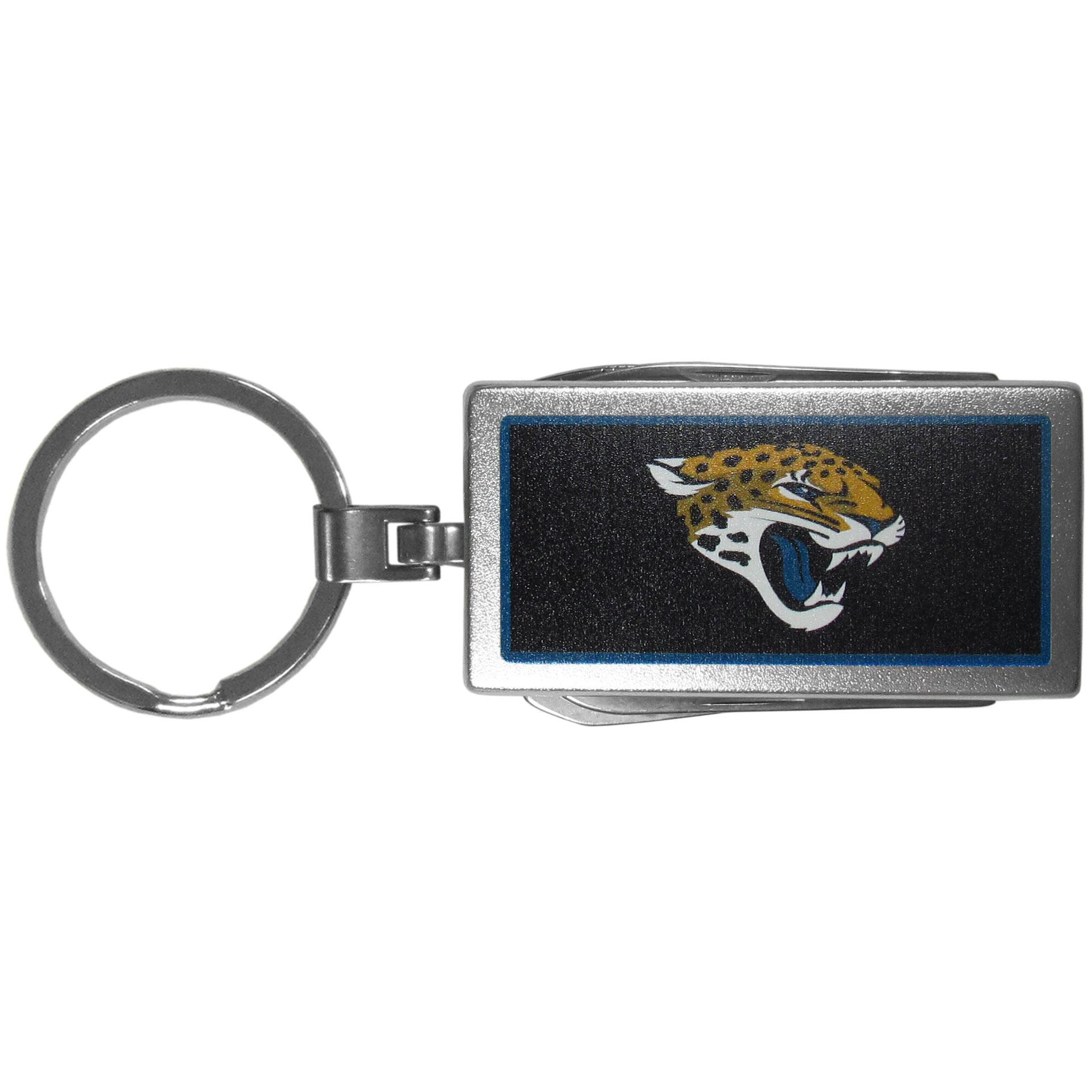 Jacksonville Jaguars Multi-tool Key Chain, Logo - Be the hero at the tailgate, camping, or on a Friday night with your Jacksonville Jaguars Multi-Tool Keychain which comes complete with bottle opener, scissors, knife, nail file and screw driver. Be it opening a package or a beverage Siskiyou's Multi-Tool Keychain goes wherever your keys do. The keychain hangs at 4 inches long when closed.