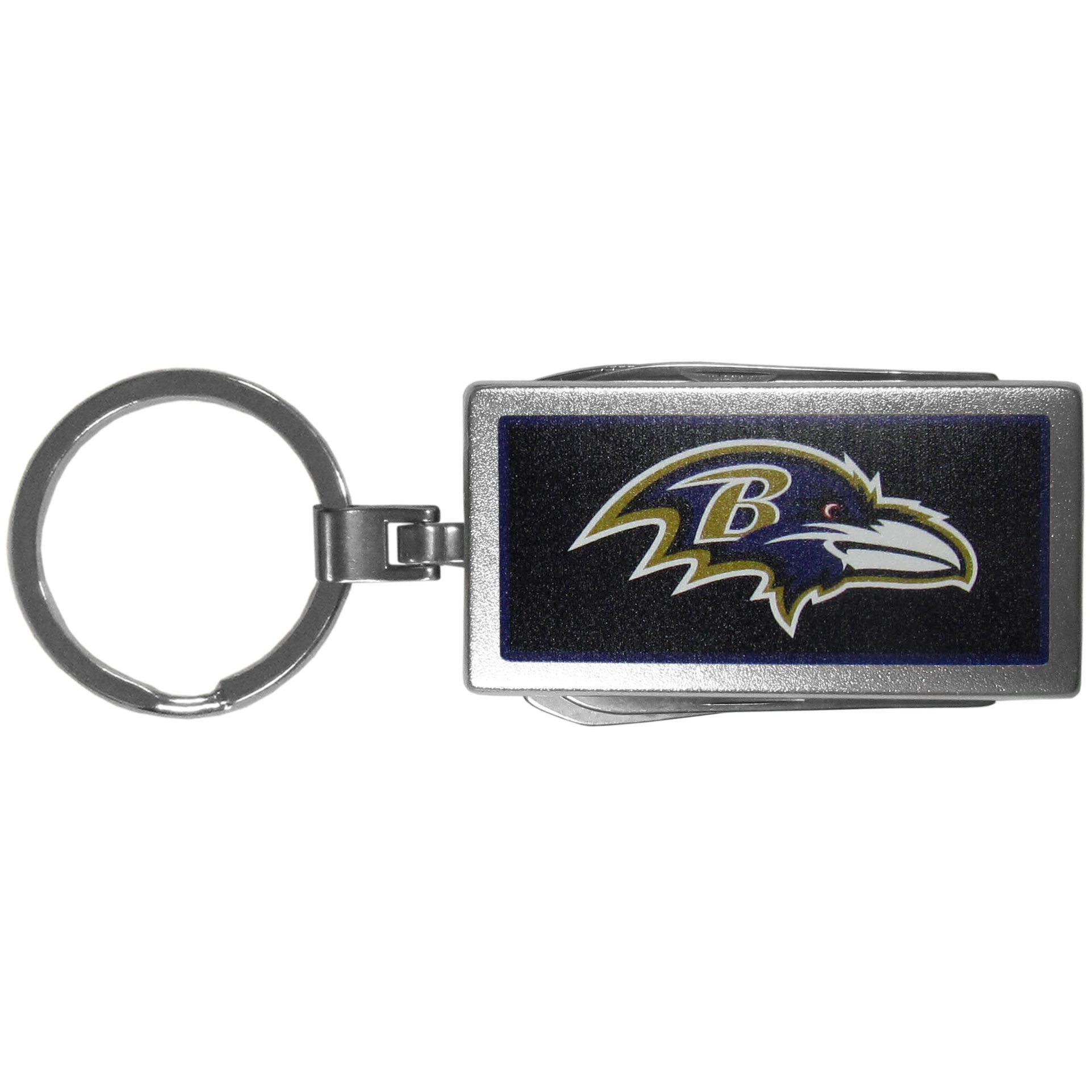 Baltimore Ravens Multi-tool Key Chain, Logo - Be the hero at the tailgate, camping, or on a Friday night with your Baltimore Ravens Multi-Tool Keychain which comes complete with bottle opener, scissors, knife, nail file and screw driver. Be it opening a package or a beverage Siskiyou's Multi-Tool Keychain goes wherever your keys do. The keychain hangs at 4 inches long when closed.