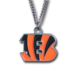 NFL Logo Necklace - Cincinnati Bengals - Our NFL team logo pendant is carved in 3D detail and enameled in the team colors. Check out our entire line of  NFL jewelry! Officially licensed NFL product Licensee: Siskiyou Buckle Thank you for visiting CrazedOutSports.com