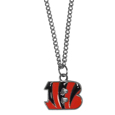 Cincinnati Bengals Chain Necklace with Small Charm - Make a statement with our collegiate chain necklaces. The 20 inch chain features a fully cast, high polish Cincinnati Bengals pendant with vivid enameled details. Perfect accessory for game day and nice enough to wear everyday! Officially licensed NFL product Licensee: Siskiyou Buckle .com
