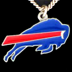 NFL Logo Necklace - Buffalo Bills - Our NFL team logo pendant is carved in 3D detail and enameled in Buffalo Bills team colors. Check out our entire line of licensed  NFL merchandise! Officially licensed NFL product Licensee: Siskiyou Buckle .com