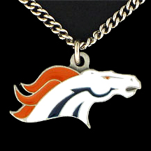NFL Logo Necklace - Denver Broncos - Our NFL team logo pendant is carved in 3D detail and enameled in Denver Broncos team colors. Check out our entire line of licensed  NFL merchandise! Officially licensed NFL product Licensee: Siskiyou Buckle .com