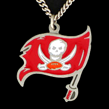 NFL Logo Necklace - Tampa Bay Buccaneers - Our NFL team logo pendant is carved in 3D detail and enameled in Tampa Bay Buccaneers team colors. Check out our entire line of licensed  NFL merchandise! Officially licensed NFL product Licensee: Siskiyou Buckle .com