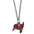 Tampa Bay Buccaneers Chain Necklace with Small Charm - Make a statement with our collegiate chain necklaces. The 20 inch chain features a fully cast, high polish Tampa Bay Buccaneers pendant with vivid enameled details. Perfect accessory for game day and nice enough to wear everyday! Officially licensed NFL product Licensee: Siskiyou Buckle .com