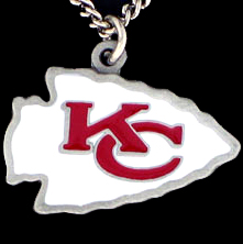 NFL Logo Necklace - Kansas City Chiefs - Our NFL team logo pendant is carved in 3D detail and enameled in Kansas City Chiefs team colors. Check out our entire line of licensed  NFL merchandise! Officially licensed NFL product Licensee: Siskiyou Buckle Thank you for visiting CrazedOutSports.com