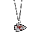 Kansas City Chiefs Chain Necklace with Small Charm - Make a statement with our collegiate chain necklaces. The 20 inch chain features a fully cast, high polish Kansas City Chiefs pendant with vivid enameled details. Perfect accessory for game day and nice enough to wear everyday! Officially licensed NFL product Licensee: Siskiyou Buckle .com