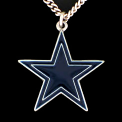 NFL Logo Necklace - Dallas Cowboys - Our NFL team logo pendant is carved in 3D detail and enameled in Dallas Cowboys team colors. Check out our entire line of licensed  NFL merchandise! Officially licensed NFL product Licensee: Siskiyou Buckle .com