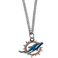 Miami Dolphins Chain Necklace with Small Charm - Make a statement with our collegiate chain necklaces. The 20 inch chain features a fully cast, high polish Miami Dolphins pendant with vivid enameled details. Perfect accessory for game day and nice enough to wear everyday! Officially licensed NFL product Licensee: Siskiyou Buckle .com