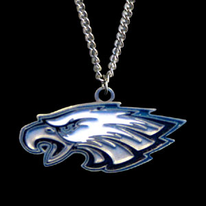 NFL Logo Necklace - Philadelphia Eagles  - Our NFL team logo pendant is carved in 3D detail and enameled in Philadelphia Eagles team colors. Check out our entire line of licensed  NFL merchandise!   Officially licensed NFL product Licensee: Siskiyou Buckle .com