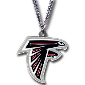 NFL Logo Necklace - Atlanta Falcons - Our NFL team logo pendant is carved in 3D detail and enameled in the team colors. Check out our entire line of  NFL jewelry! Officially licensed NFL product Licensee: Siskiyou Buckle .com