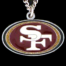 NFL Logo Necklace - San Francisco 49ers - Our NFL team logo pendant is carved in 3D detail and enameled in San Francisco 49ers team colors. Check out our entire line of licensed  NFL merchandise! Officially licensed NFL product Licensee: Siskiyou Buckle .com
