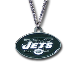 NFL Logo Necklace - New York Jets - Our NFL team logo pendant is carved in 3D detail and enameled in the team colors. Check out our entire line of  NFL jewelry! Officially licensed NFL product Licensee: Siskiyou Buckle Thank you for visiting CrazedOutSports.com
