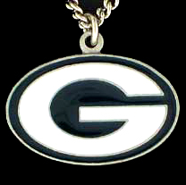 NFL Logo Necklace - Green Bay Packers - Our NFL team logo pendant is carved in 3D detail and enameled in Green Bay Packers team colors. Check out our entire line of licensed  NFL merchandise! Officially licensed NFL product Licensee: Siskiyou Buckle .com