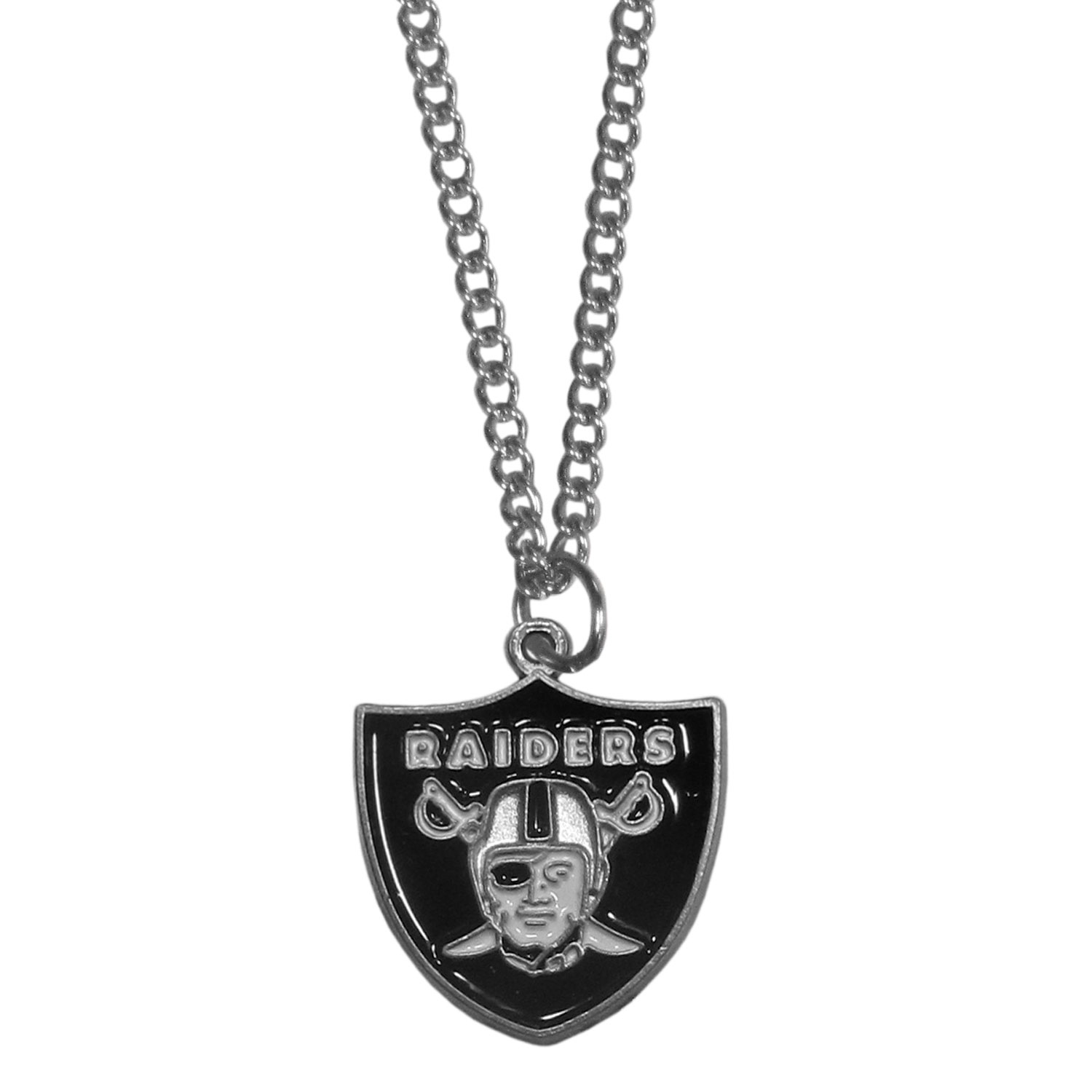 Oakland Raiders Chain Necklace - Make a statement with our chain necklaces. The 22 inch chain features a fully cast, metal Oakland Raiders pendant with vivid enameled details. Perfect accessory for game day and nice enough to wear everyday!