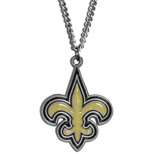 NFL Logo Necklace - New Orleans Saints - Our NFL team logo pendant is carved in 3D detail and enameled in New Orleans Saints team colors. Check out our entire line of licensed  NFL merchandise! Officially licensed NFL product Licensee: Siskiyou Buckle .com