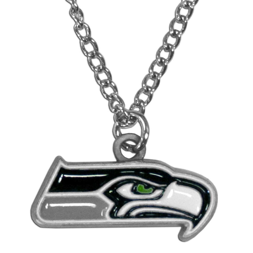 Seattle Seahawks Chain Necklace - Make a statement with our chain necklaces. The 22 inch chain features a fully cast, metal Seattle Seahawks pendant with vivid enameled details. Perfect accessory for game day and nice enough to wear everyday!