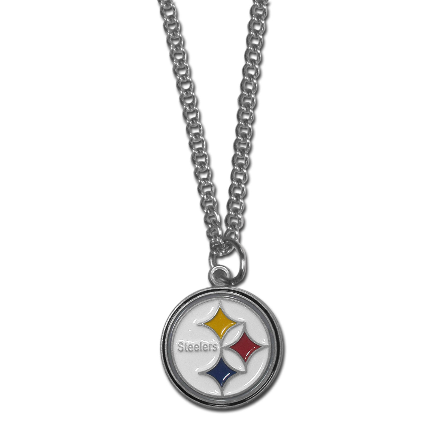 Pittsburgh Steelers Chain Necklace - Make a statement with our chain necklaces. The 22 inch chain features a fully cast, metal Pittsburgh Steelers pendant with vivid enameled details. Perfect accessory for game day and nice enough to wear everyday!