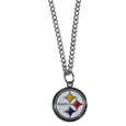 Pittsburgh Steelers Chain Necklace with Small Charm - Make a statement with our collegiate chain necklaces. The 20 inch chain features a fully cast, high polish Pittsburgh Steelers pendant with vivid enameled details. Perfect accessory for game day and nice enough to wear everyday! Officially licensed NFL product Licensee: Siskiyou Buckle .com