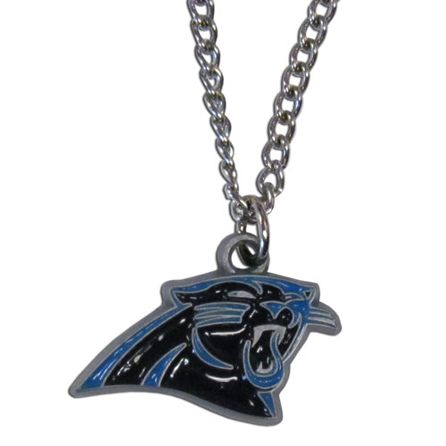 NFL Logo Necklace - Carolina Panthers - Our NFL team logo pendant is carved in 3D detail and enameled in the team colors. Check out our entire line of  NFL jewelry! Officially licensed NFL product Licensee: Siskiyou Buckle .com