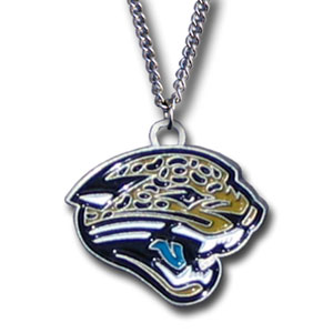 NFL Logo Necklace - Jacksonville Jaguars - Our NFL team logo pendant is carved in 3D detail and enameled in the team colors. Check out our entire line of  NFL jewelry! Officially licensed NFL product Licensee: Siskiyou Buckle Thank you for visiting CrazedOutSports.com