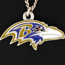 NFL Logo Necklace - Baltimore Ravens - Our NFL team logo pendant is carved in 3D detail and enameled in Baltimore Ravens team colors. Check out our entire line of licensed  NFL merchandise! Officially licensed NFL product Licensee: Siskiyou Buckle .com
