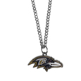 Baltimore Ravens Chain Necklace with Small Charm - Make a statement with our collegiate chain necklaces. The 20 inch chain features a fully cast, high polish Baltimore Ravens pendant with vivid enameled details. Perfect accessory for game day and nice enough to wear everyday! Officially licensed NFL product Licensee: Siskiyou Buckle .com