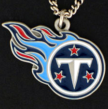 NFL Logo Necklace - Tennessee Titans - Our NFL team logo pendant is carved in 3D detail and enameled in Tennessee Titans team colors. Check out our entire line of licensed  NFL merchandise! Officially licensed NFL product Licensee: Siskiyou Buckle .com