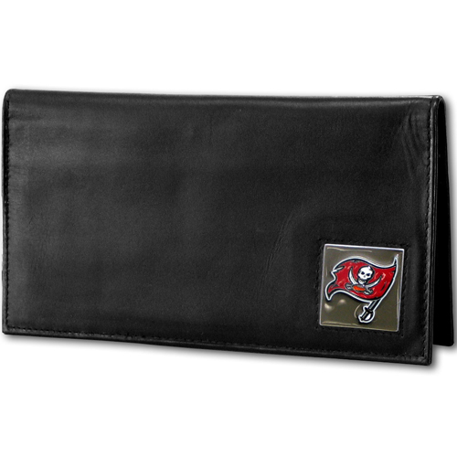 Tampa Bay Buccaneers NFL Checkbook Cover  - Officially licensed Executive Tampa Bay Buccaneers NFL Checkbook Cover is made of high quality fine grain leather with a sculpted Tampa Bay Buccaneers emblem depicting your favorite team. Officially licensed NFL product Licensee: Siskiyou Buckle .com