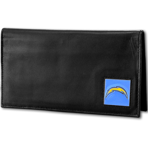 Los Angeles Chargers NFL Checkbook Cover - Officially licensed Executive Los Angeles Chargers NFL Checkbook Cover are made of high quality fine grain leather with a sculpted Los Angeles Chargers emblem depicting your favorite team. Officially licensed NFL product Licensee: Siskiyou Buckle .com