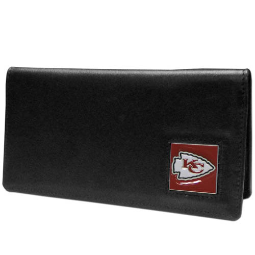 Kansas City Chiefs NFL Checkbook Cover  - Officially licensed Executive Kansas City Chiefs NFL Checkbook Cover are made of high quality fine grain leather with a sculpted Kansas City Chiefs emblem depicting your favorite team. Officially licensed NFL product Licensee: Siskiyou Buckle Thank you for visiting CrazedOutSports.com