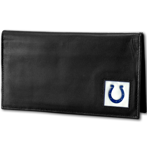 Indianapolis Colts NFL Checkbook Cover  - Officially licensed Executive Indianapolis Colts NFL Checkbook Cover are made of high quality fine grain leather with a sculpted Indianapolis Colts emblem depicting your favorite team. Officially licensed NFL product Licensee: Siskiyou Buckle Thank you for visiting CrazedOutSports.com