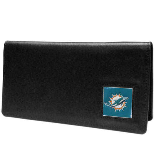 Miami Dolphins NFL Checkbook Cover  - Officially licensed Executive Miami Dolphins NFL Checkbook Cover are made of high quality fine grain leather with a sculpted Miami Dolphins emblem depicting your favorite team. Officially licensed NFL product Licensee: Siskiyou Buckle .com