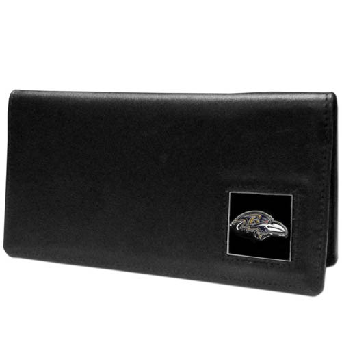 Baltimore Ravens NFL Checkbook Cover  - Officially licensed Executive Baltimore Ravens NFL Checkbook Cover are made of high quality fine grain leather with a sculpted Baltimore Ravens emblem depicting your favorite team. Officially licensed NFL product Licensee: Siskiyou Buckle .com
