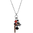 Denver Broncos Cluster Necklace - Our trendy cluster necklace makes a big statement with a 30 inch, silver plated, link chain that features a stylish cluster of Denver Broncos charms that hang an additional 4 inches off of the chain. This bold fashion jewelry piece has 4 chain lenghts in the cluster that have alternating color bauble beads and 2 metal team charms, one with crystals and a long bar charm with the team name.
