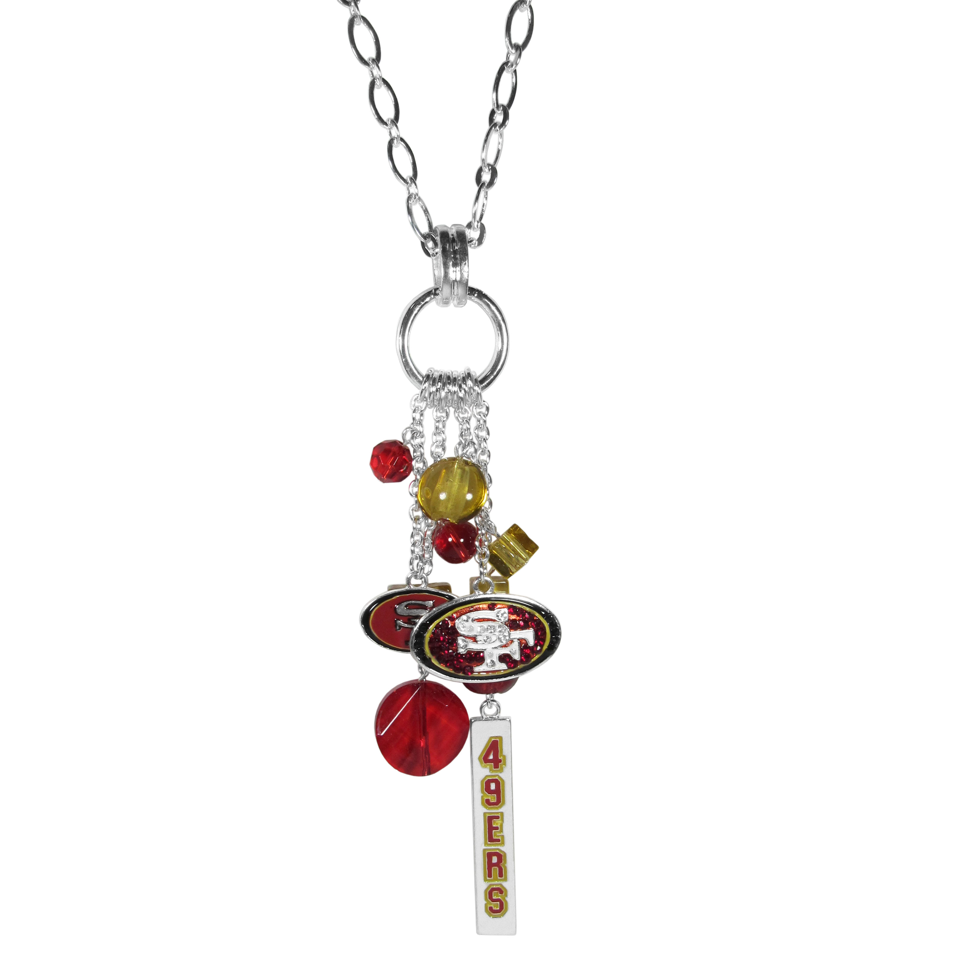 San Francisco 49ers Cluster Necklace - Our trendy cluster necklace makes a big statement with a 30 inch, silver plated, link chain that features a stylish cluster of San Francisco 49ers charms that hang an additional 4 inches off of the chain. This bold fashion jewelry piece has 4 chain lenghts in the cluster that have alternating color bauble beads and 2 metal team charms, one with crystals and a long bar charm with the team name.