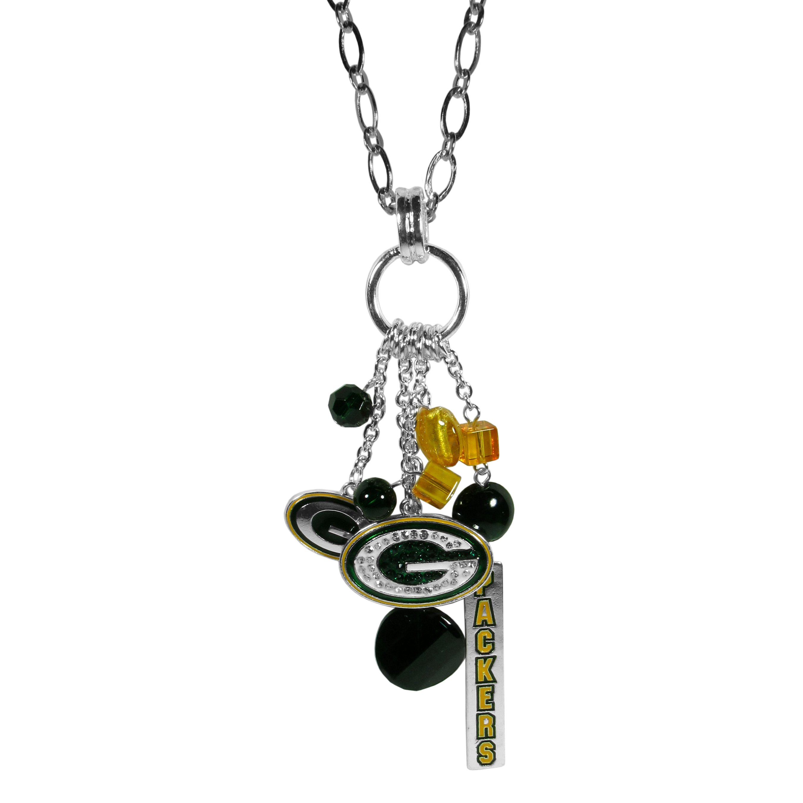 Green Bay Packers Cluster Necklace - Our trendy cluster necklace makes a big statement with a 30 inch, silver plated, link chain that features a stylish cluster of Green Bay Packers charms that hang an additional 4 inches off of the chain. This bold fashion jewelry piece has 4 chain lenghts in the cluster that have alternating color bauble beads and 2 metal team charms, one with crystals and a long bar charm with the team name.