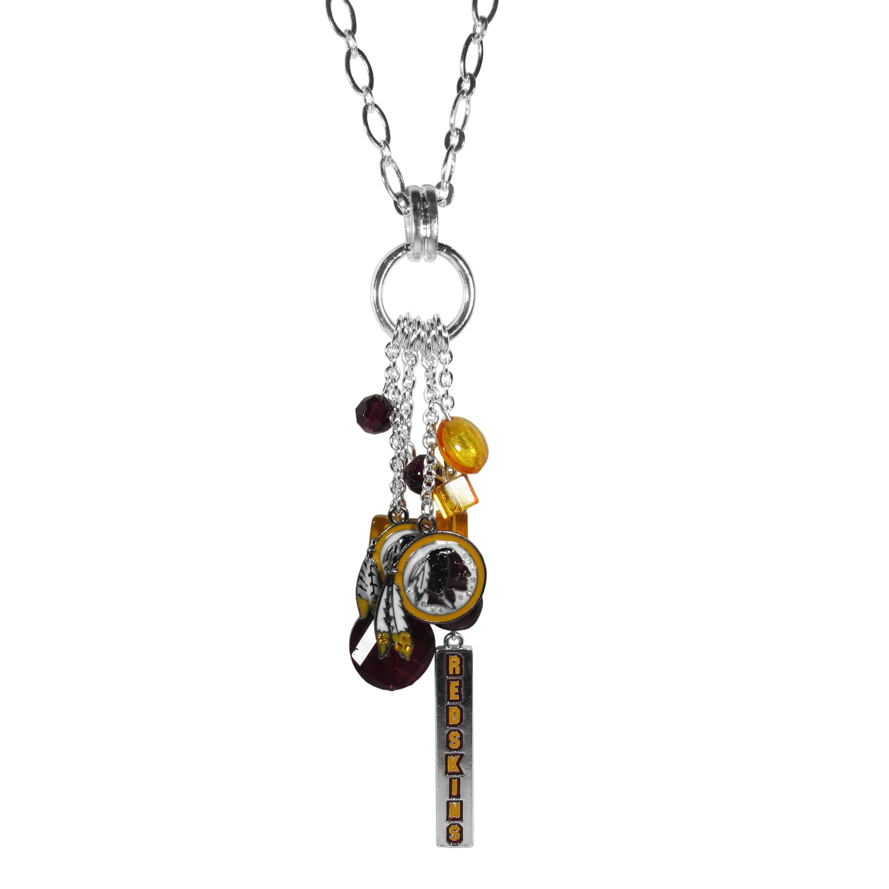 Washington Redskins Cluster Necklace - Our trendy cluster necklace makes a big statement with a 30 inch, silver plated, link chain that features a stylish cluster of Washington Redskins charms that hang an additional 4 inches off of the chain. This bold fashion jewelry piece has 4 chain lenghts in the cluster that have alternating color bauble beads and 2 metal team charms, one with crystals and a long bar charm with the team name.