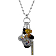 Pittsburgh Steelers Cluster Necklace - Our trendy cluster necklace makes a big statement with a 30 inch, silver plated, link chain that features a stylish cluster of Pittsburgh Steelers charms that hang an additional 4 inches off of the chain. This bold fashion jewelry piece has 4 chain lenghts in the cluster that have alternating color bauble beads and 2 metal team charms, one with crystals and a long bar charm with the team name.