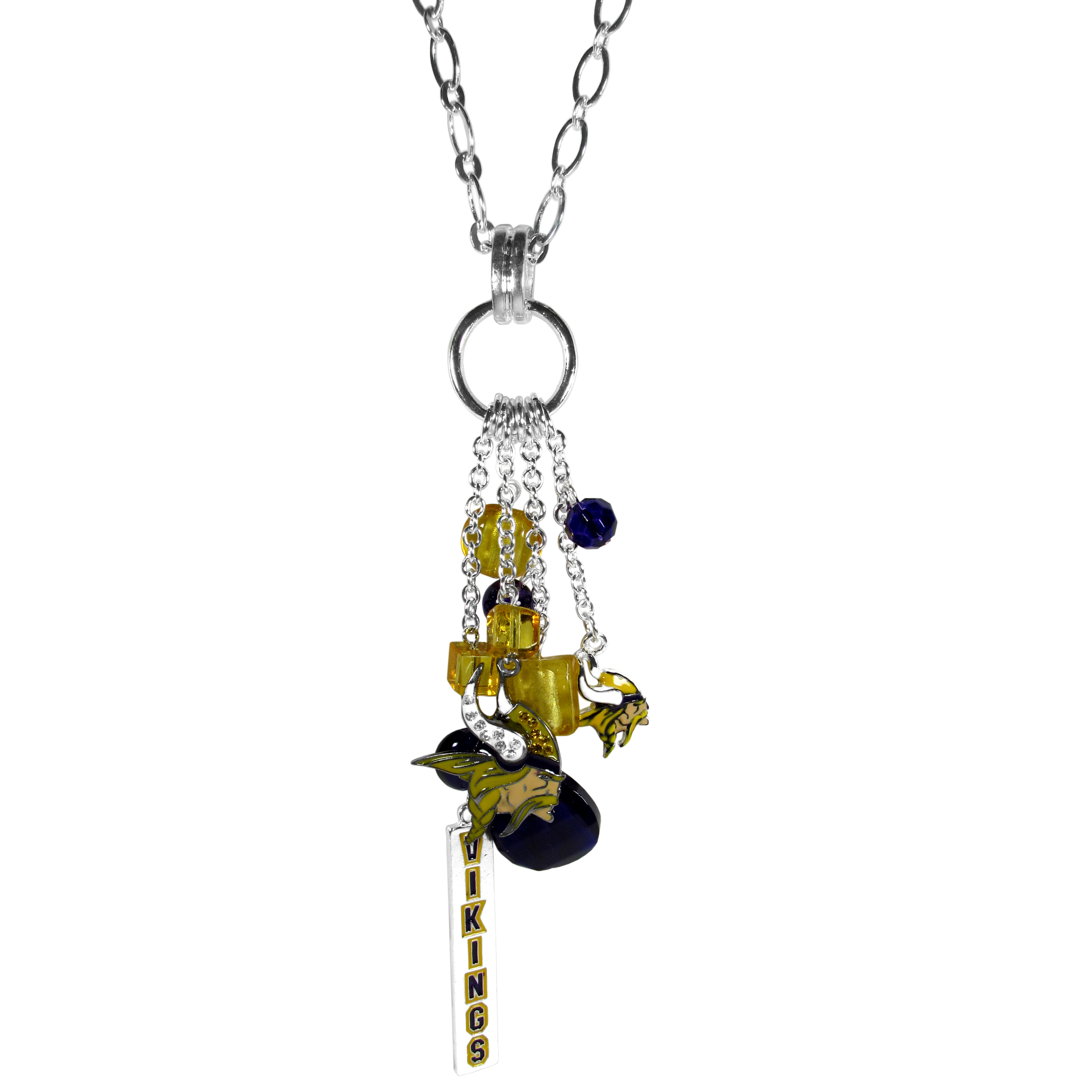 Minnesota Vikings Cluster Necklace - Our trendy cluster necklace makes a big statement with a 30 inch, silver plated, link chain that features a stylish cluster of Minnesota Vikings charms that hang an additional 4 inches off of the chain. This bold fashion jewelry piece has 4 chain lenghts in the cluster that have alternating color bauble beads and 2 metal team charms, one with crystals and a long bar charm with the team name.